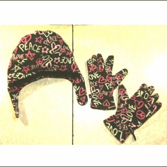 💓3  15💓Joe Boxer Pink Black Fleece Hat Glove Set 10b3fe3cc6a2